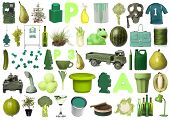 Large group of Green objects isolated on white background