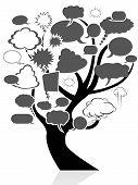 Black Tree With Speech Bubble
