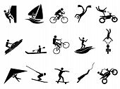 image of glider  - isolated black extreme sports icon set on white background - JPG