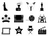 stock photo of marquee  - isolated movie and oscar symbol icons on white background - JPG
