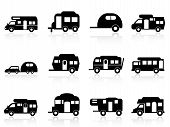 stock photo of trailer park  - isolated Caravan or camper van symbol on white background - JPG