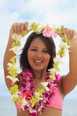 Beautiful Polynesian Girl With Flower Lei