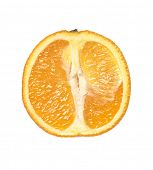 Orange cut in half isolated on white background
