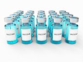 Blue Vaccine  Bottles On White Background