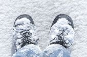 foto of boot  - Winter walking man - JPG