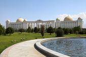 Palace With Columns, Domes And Foutain In Front. Ashkhabad. Turkmenistan.
