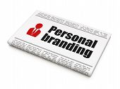 Advertising news concept: newspaper with Personal Branding and B