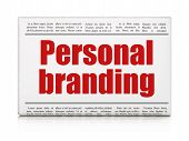 Marketing news concept: newspaper headline Personal Branding