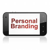 Advertising concept: Personal Branding on smartphone