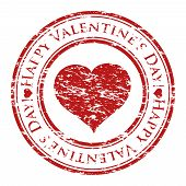 Vector Illustrator Of A Grunge Rubber Stamp With Heart And Text (happy Valentine's Day Written Insid