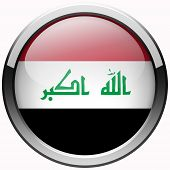 stock photo of iraq  - iraq flag gel metal button on white backgroung - JPG
