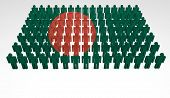 stock photo of bangladesh  - Parade of 3d people forming a top view of Bangladesh flag - JPG