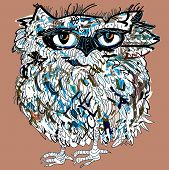 Owl, symbol of Halloween, vector illustration. Illustration for t-shirt.