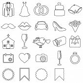 stock photo of ring-dove  - Vector Doodle Style Collection of Wedding Icons - JPG