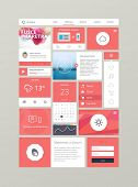 Flat ui kit for responsive web design in red. Adaptive web elements for 960 grid