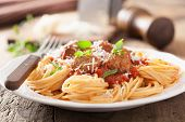 foto of meatball  - spaghetti with meatballs in tomato sauce - JPG
