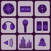 Set Collection Of Nine Purple Music Icons.eps