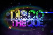 Digital discotheque text in cool colours