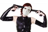 Young masked woman with guns.