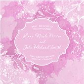 Wedding invitation on watercolors background