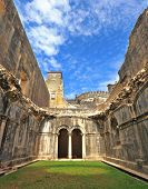 Palace of the Knights Templar in the small town of Tomar, Portugal. Beautiful green inner courtyard,