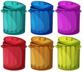 Illustration of the six colorful bins on a white background