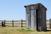 image of outhouse  - This is a picture of an Outhouse near Johnson City Texas - JPG