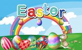 picture of oblong  - Illustration of a hilltop with Easter eggs - JPG