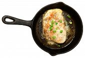 Swordfish Baked in Skillet with Butter Ginger Green Onion Sauce