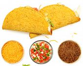 Two Tacos Stacked on White Background with cheese and lettuce. Bowl of cheese, trinity  and meat bel