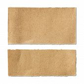 Torn Brown Paper Sheet On White Background