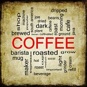 Grunge Coffee Word Cloud Concept