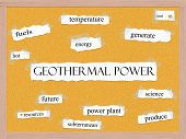 Geothermal Power Corkboard Word Concept
