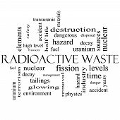 Radioactive Waste Word Cloud Concept In Black And White