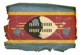 Swaziland Flag Old, Isolated On White Background