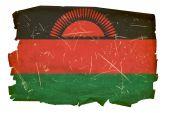 Malawi Flag Old, Isolated On White Background