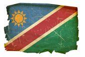 Namibia Flag Old, Isolated On White Background