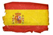 Spain Flag Old, Isolated On White Background