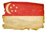 Singapore Flag Old, Isolated On White Background