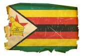 Zimbabwe Flag Old, Isolated On White Background.