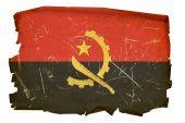 Angola Flag Old, Isolated On White Background.