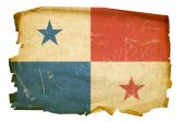Panama Flag Old, Isolated On White Background.