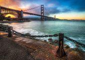 Colorful Golden Gate Bridge Sunset