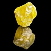 Large Crystal Yellow Sulphur with reflection on black surface background