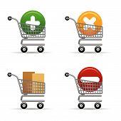 Los iconos de carritos de compras