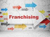 Finance concept: arrow with Franchising on grunge wall background