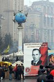 EV, UKRAINE - FEB 10, 2014: Stephan Bandera poster (Ukrainian nationalist icon ). Downtown of Kiev. Riot in Kiev and Western Ukraine.February 10, 2014 Kiev, Ukraine