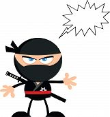 Angry Ninja Warrior Cartoon Character With Speech Bubble Flat Design