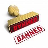 stock photo of bans  - stamp banned with red text over white background - JPG