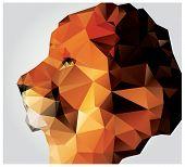 Geometric polygon lion head, profile, triangle pattern, vector illustration